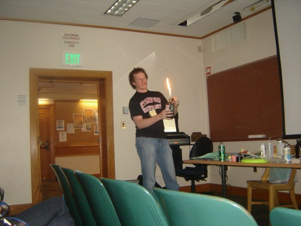 A much younger and skinnier version of me presenting my first live combustion demonstration.
